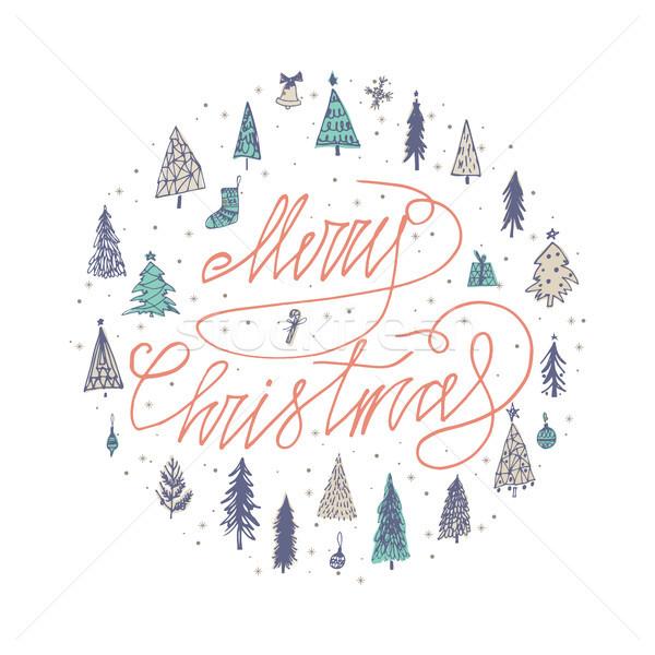 Alegre árbol de navidad estaciones tarjeta Foto stock © kollibri