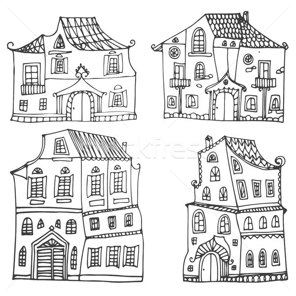Hand drawn set of sketched typical country houses isolated on white background. Cartoon houses. Fron Stock photo © kollibri
