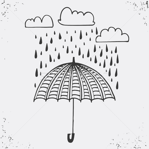 Hand drawn poster with umbrella, clouds and raindrops. Stylish typographic poster design. Used for g Stock photo © kollibri