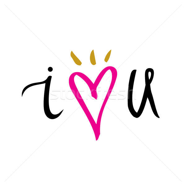 Amor dibujado a mano tipografía anunciante motivacional Foto stock © kollibri