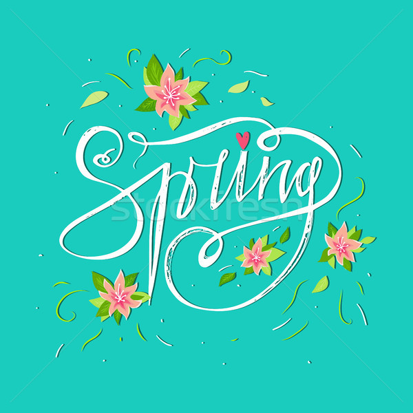 Heldere voorjaar kaart Blauw lentebloemen hand Stockfoto © kollibri