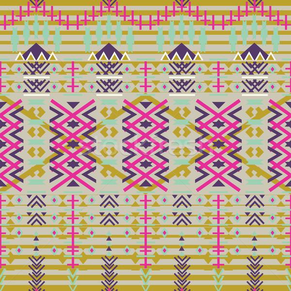 Aztec seamless pattern. Ethnic abstract geometric texture. Hand drawn navajo fabric. geometric art p Stock photo © kollibri
