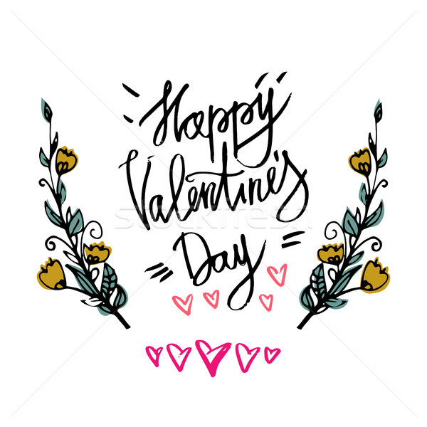 Happy Valentines Day typography poster with handwritten calligraphy text branch of flowers, isolated Stock photo © kollibri