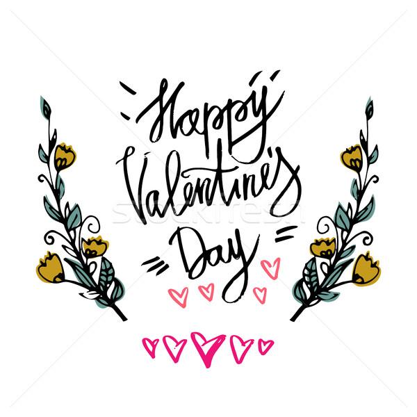 幸せ バレンタインデー タイポグラフィ ポスター 書道 ストックフォト © kollibri