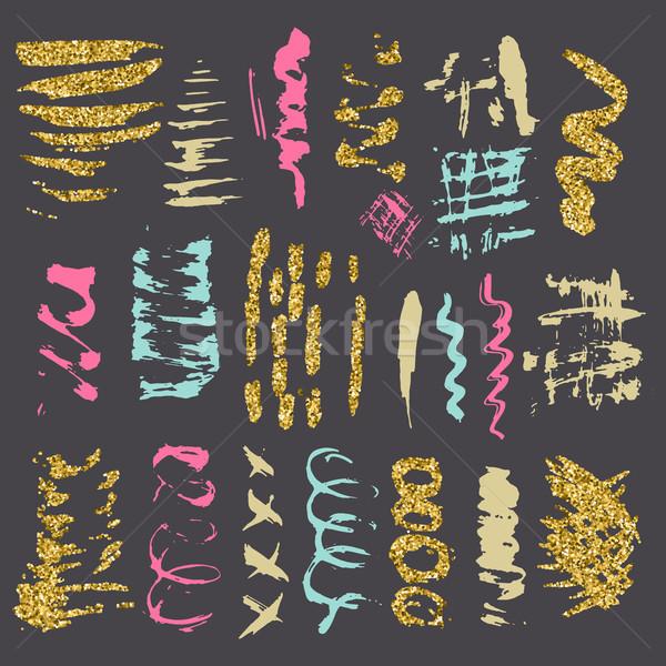 ブラシ ベクトル セット カラフル 金 ストックフォト © kollibri