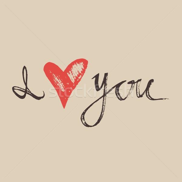 Amor mão feito à mão caligrafia vetor tipografia Foto stock © kollibri