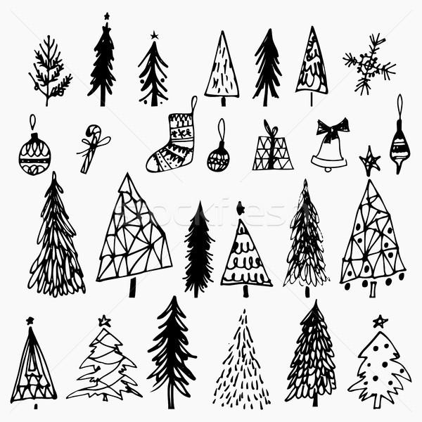 Establecer dibujado a mano árbol de navidad campana regalo blanco Foto stock © kollibri