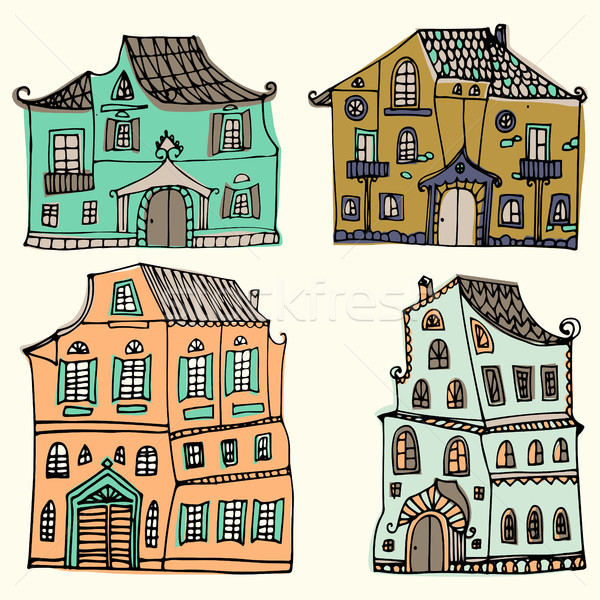 手描き セット 典型的な 国 住宅 孤立した ストックフォト © kollibri