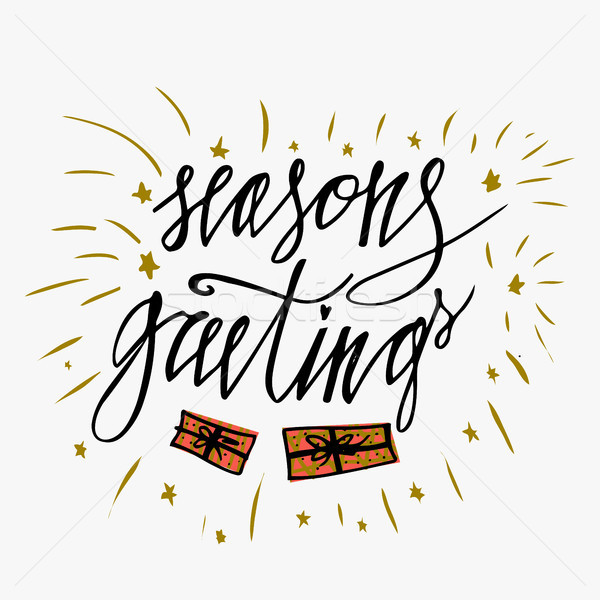 Seasons greetings card hand lettering calligraphic inscription by add to lightbox download comp m4hsunfo