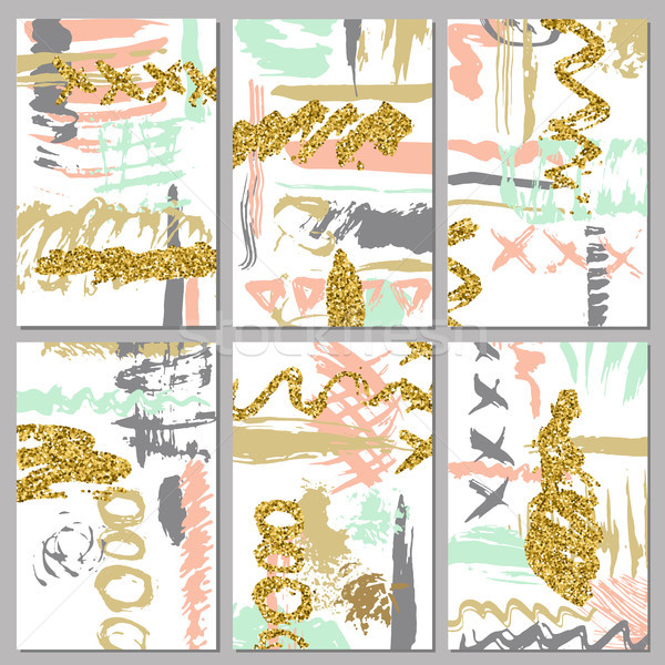 Set of artistic invitations card with gold glitter texture. Vector. Used for wedding, marriage, brid Stock photo © kollibri