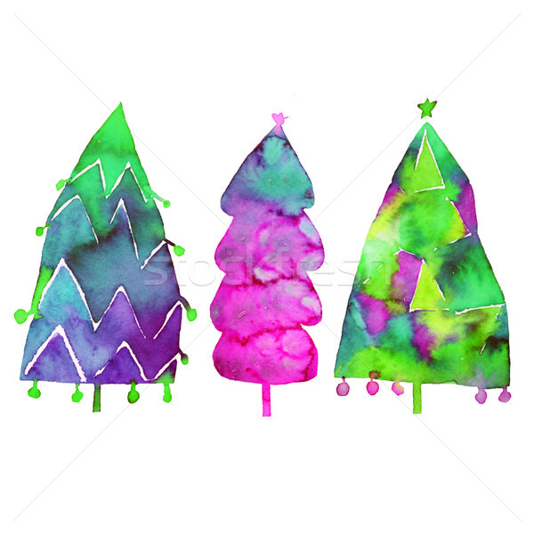 Watercolor Christmas tree isolated on a white background. Design holiday Christmas fir for wrapping  Stock photo © kollibri