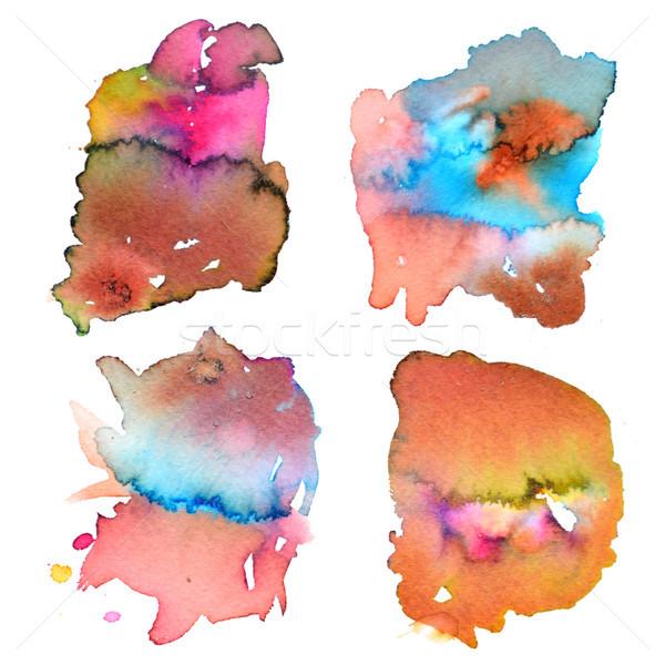 Establecer resumen acuarela mano pintura salpicaduras Foto stock © kollibri