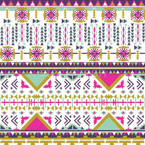 Colorful aztec seamless pattern on white background. Ethnic abstract geometric texture. Hand drawn n Stock photo © kollibri
