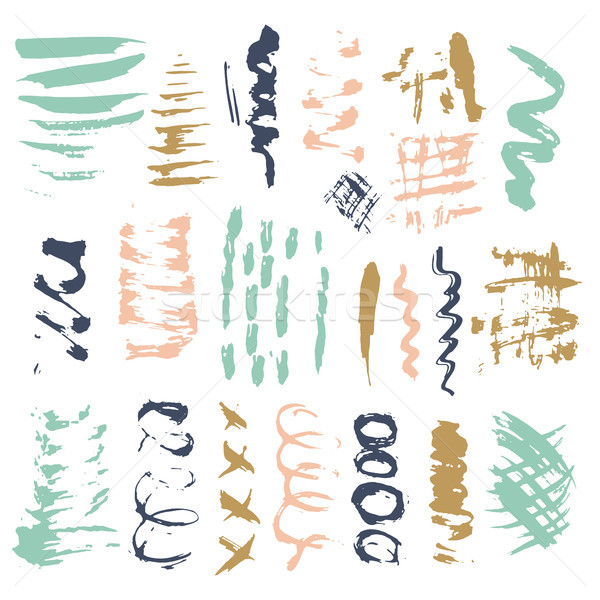 Ecset ecsetvonások izolált fehér vektor kézzel rajzolt Stock fotó © kollibri