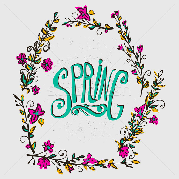春 カード フローラル 花輪 言葉 花 ストックフォト © kollibri