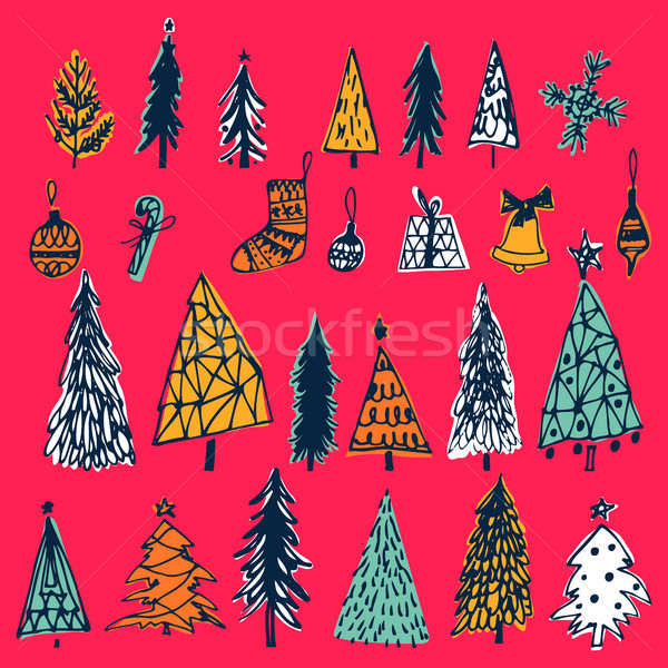 Set of hand drawn christmas tree, bell, gift, candy,balls on red background. Holiday decoration isol Stock photo © kollibri