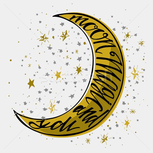 Dibujado a mano tipografía anunciante luna magia Foto stock © kollibri