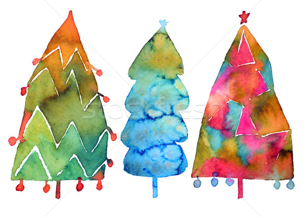 Christmas Tree Watercolor Painting Isolated On White Background