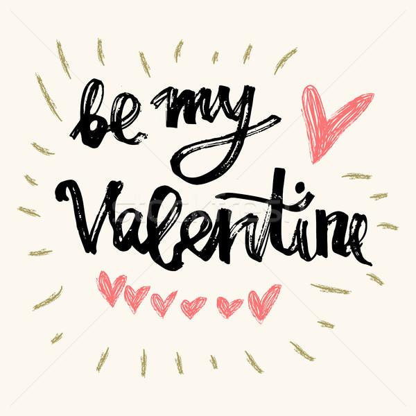 Mijn Valentijn hand handgemaakt schoonschrift vector Stockfoto © kollibri