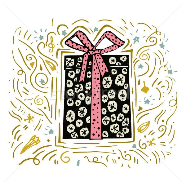 Dibujado a mano Navidad presente cuadro rosa arco Foto stock © kollibri