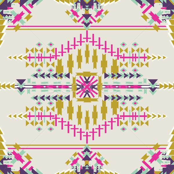 Colorful aztec seamless pattern on dark background.. Ethnic abstract geometric texture. Hand drawn n Stock photo © kollibri