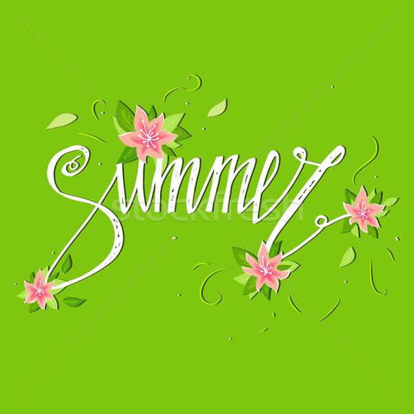 Zomer kaart groene bloemen banner Stockfoto © kollibri