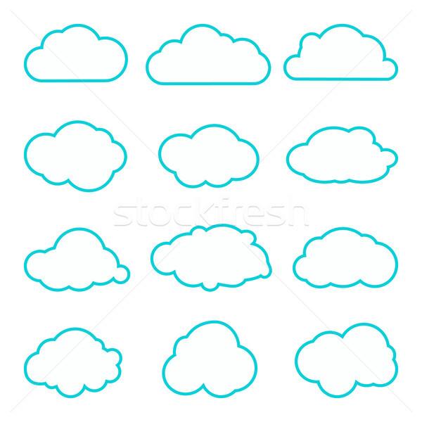 Collectie wolken dun lijnen iconen wolk Stockfoto © kollibri