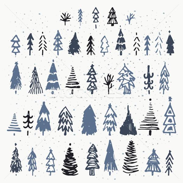 Ingesteld kerstboom vakantie decoratie geïsoleerd Stockfoto © kollibri