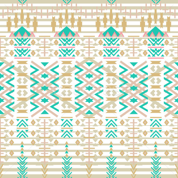 Aztec seamless pattern. Ethnic abstract geometric texture. Hand drawn navajo fabric. geometric art p Stock photo © kollibri