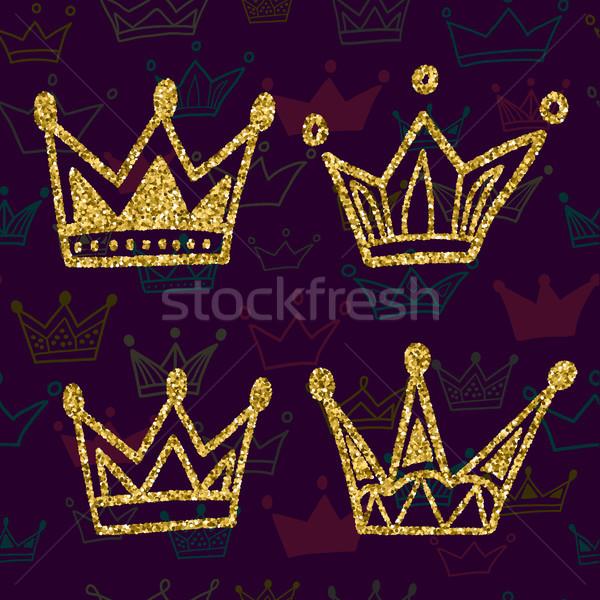 золото корона набор изолированный темно Сток-фото © kollibri