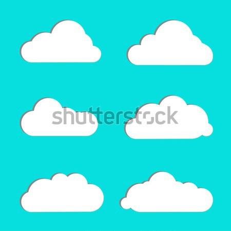 Wolk vector witte kleur Blauw Stockfoto © kollibri