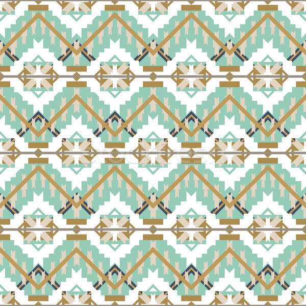 Aztec seamless pattern on white background. Ethnic abstract geometric texture. Hand drawn navajo fab Stock photo © kollibri