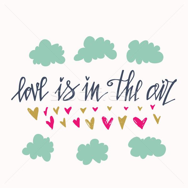 Szeretet levegő kézzel rajzolt üdvözlőlap design kézzel készített kalligráfia Stock fotó © kollibri