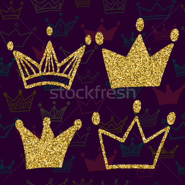 Gold crown set isolated on dark background with seamless pattern. Glitters set of king crowns. Vecto Stock photo © kollibri