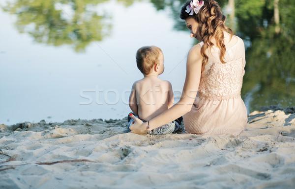 Anya néz fiú család tavasz baba Stock fotó © konradbak