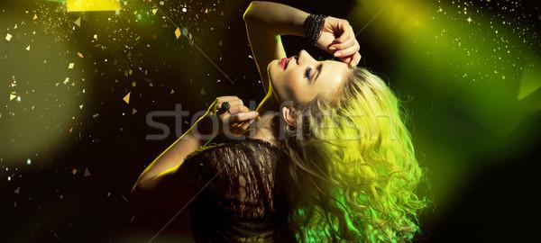 Fête femme piste de danse dame musique fille Photo stock © konradbak