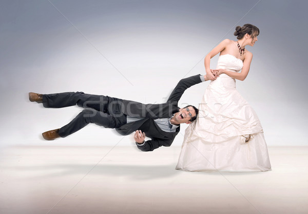 Menyasszony vőlegény láb női stúdió férfi Stock fotó © konradbak