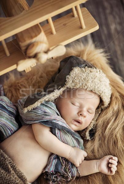 Aranyos újszülött baba pilóta gyermek arc Stock fotó © konradbak
