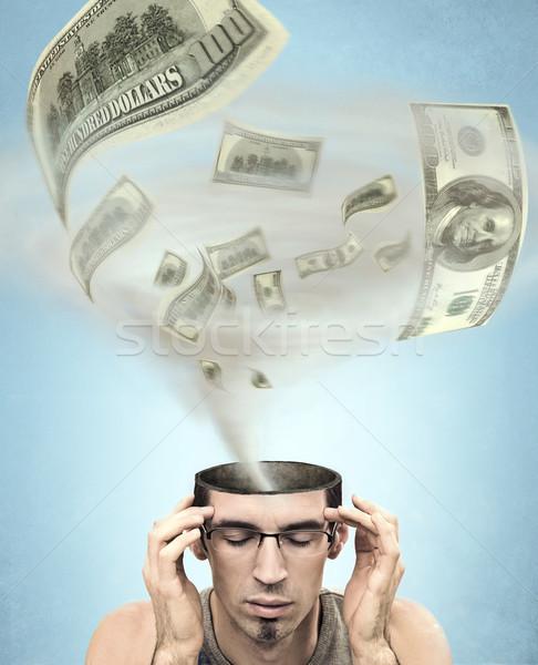 Dollár tornádó fej férfi koponya jókedv Stock fotó © konradbak