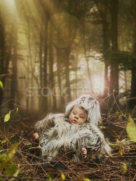 Newborn laying in a birds nest Stock photo © konradbak