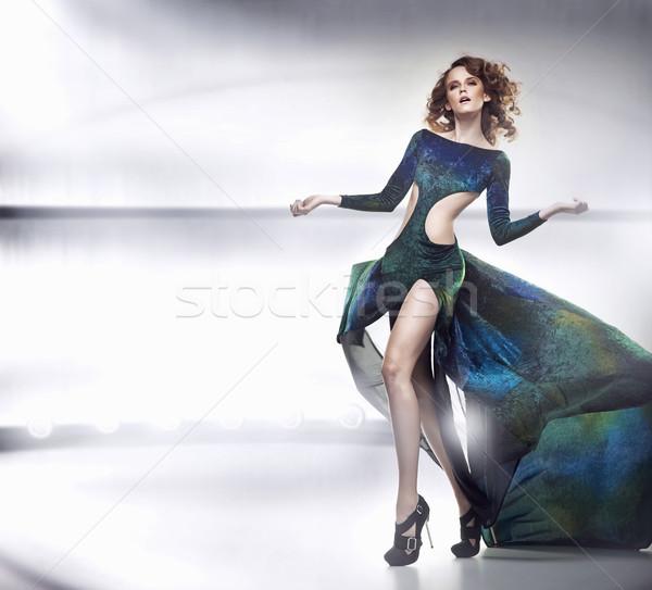 Beauty lady in gorgeous dress Stock photo © konradbak