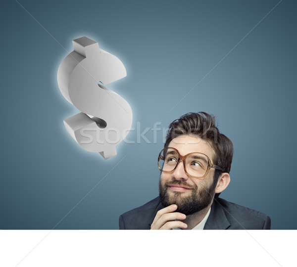 Conceptual portrait of a nerdy businessman Stock photo © konradbak