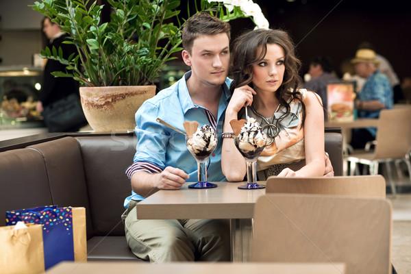 young couple at the cafe Stock photo © konradbak