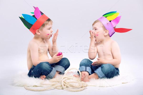 Young Indian boys with fancy hats Stock photo © konradbak