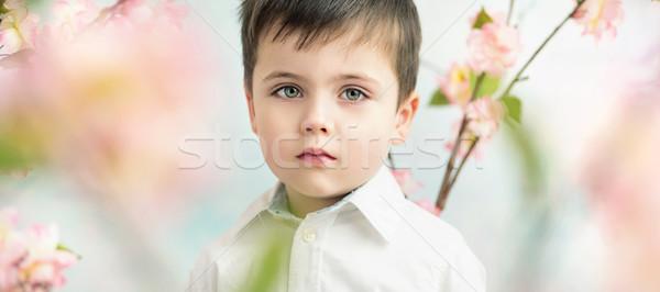 Portrait of a serious cute boy Stock photo © konradbak