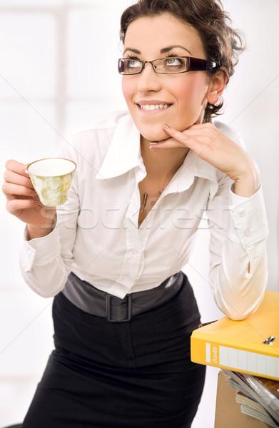 секретарь питьевой кофе служба девушки работу Сток-фото © konradbak