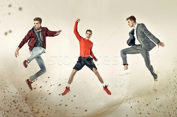 Three faces of the same teenager Stock photo © konradbak