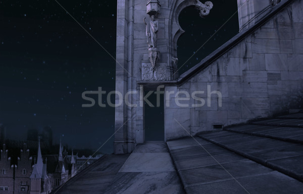 The part of the old castle at night Stock photo © konradbak