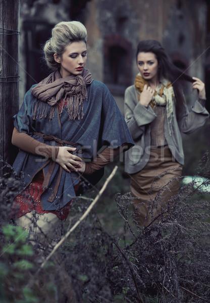 Two young ladies wearing sweaters Stock photo © konradbak