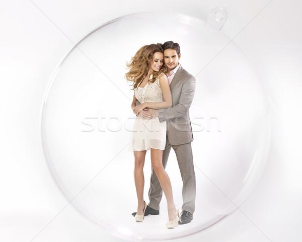 Jonge coupe gesloten glas bal gelukkig Stockfoto © konradbak